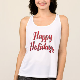 Red Christmas Glitter Text Happy Holidays Tank Top