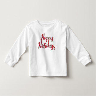 Red Christmas Glitter Text Happy Holidays Tee Shirts