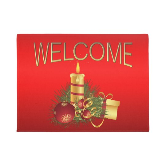 Red Christmas Gold Welcome Doormat
