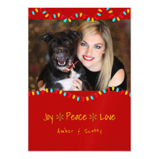 Red Christmas Lights Magnetic Photo Greeting Magnetic Card
