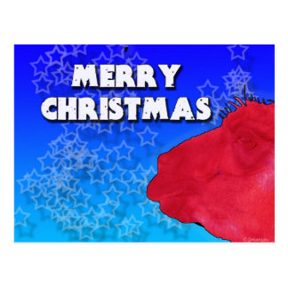 Red Christmas Llama with Holiday Star Studded Sky Postcard