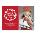 Red Christmas Love Peace Joy   Holiday Photo Postcard