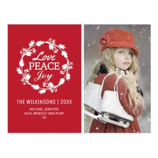 Red Christmas Love Peace Joy | Holiday Photo Postcard