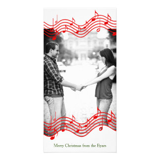 Red Christmas Music Photo Holiday Customized Photo Card