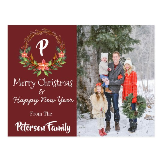 Red Christmas & New Year Postcard