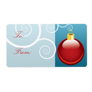 Red Christmas Ornament Gift Labels
