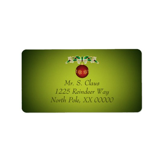Red Christmas Ornament with Ivy and Holly Garland Label