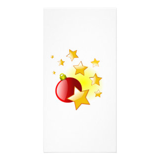 Red Christmas Ornament with Stars Photo Cards