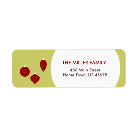 Red Christmas Ornaments Address Labels