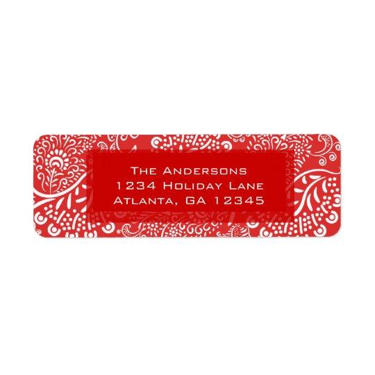 Red Christmas Paisleys Return Address Return Address Label
