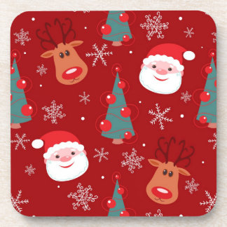 Red Christmas pattern Coaster