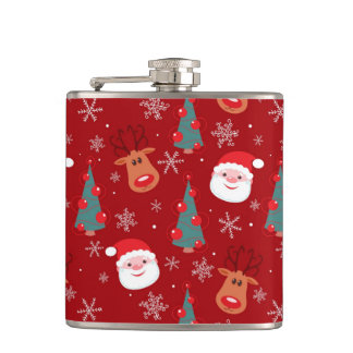 Red Christmas pattern Hip Flask