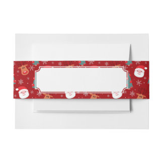 Red Christmas pattern Invitation Belly Band