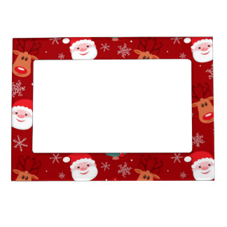 Red Christmas pattern Magnetic Picture Frame