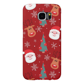 Red Christmas pattern Samsung Galaxy S6 Cases