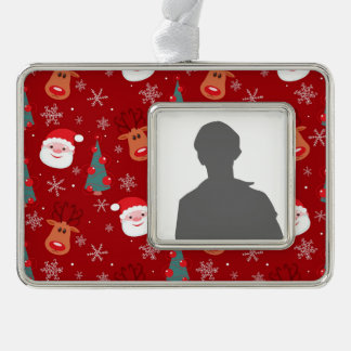 Red Christmas pattern Silver Plated Framed Ornament