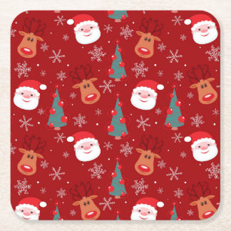Red Christmas pattern Square Paper Coaster