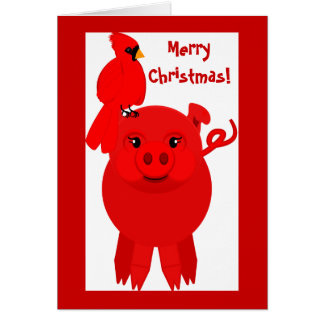 Red Christmas pig and cardinal, card