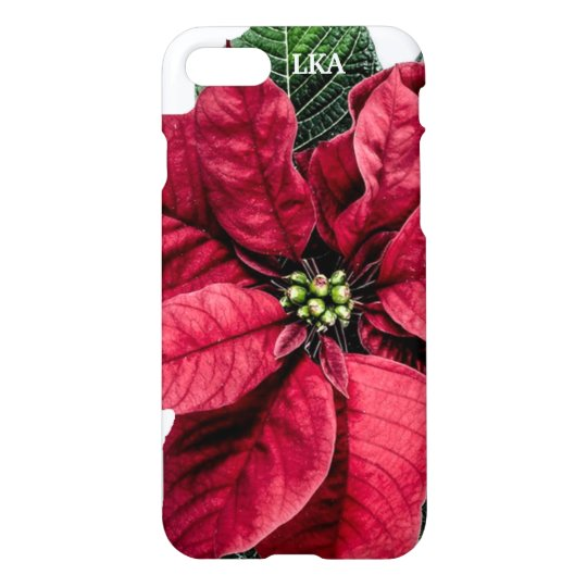 Red Christmas Poinsetta Personalised iPhone 8/7 Case