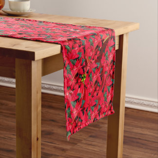 Red Christmas Poinsettias. Short Table Runner