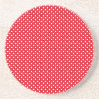 Red Christmas Polka Dots Beverage Coasters