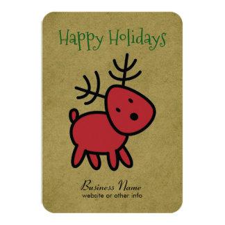 Red Christmas Reindeer Illustration Card