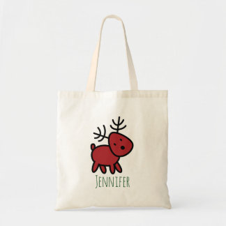 Red Christmas Reindeer Illustration Custom Tote Bag