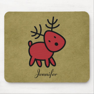 Red Christmas Reindeer Illustration Personalized Mouse Mat