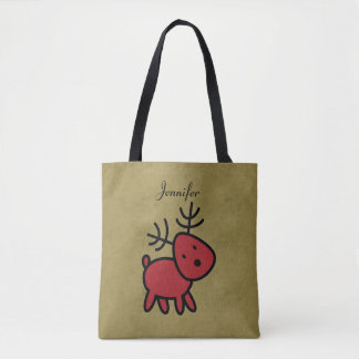 Red Christmas Reindeer Illustration Personalized Tote Bag