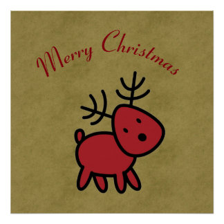 Red Christmas Reindeer Illustration Poster
