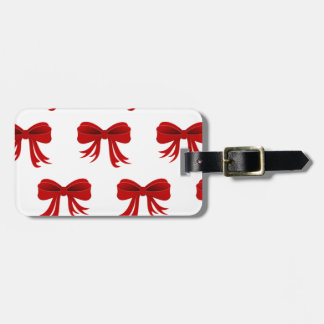 Red Christmas Ribbon Luggage Tag
