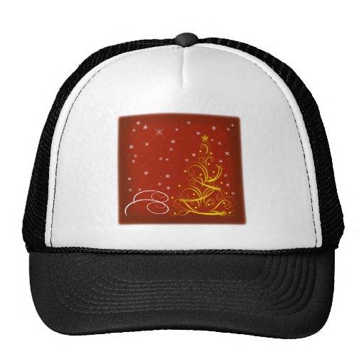 Red Christmas scene Trucker Hats