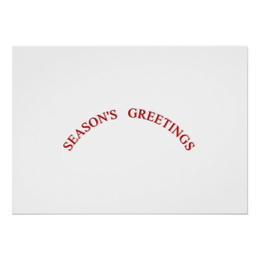Red Christmas Seasons Greetings Poster
