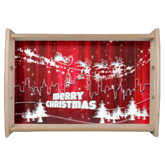 Red christmas serving tray
