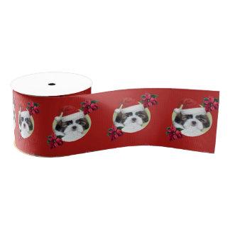"Red Christmas shih tzu dog 3"" grosgrain Ribbon"
