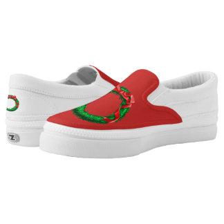 Red Christmas Slip On Shoes