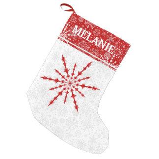 Red Christmas Snowflake Custom Monogram Small Christmas Stocking