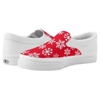 Red Christmas Snowflake Zipz Slipon Sneaker Slip-On Shoes