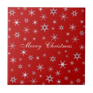 Red Christmas Snowflakes Ceramic Tile