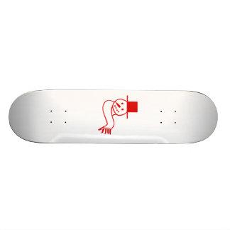 Red Christmas Snowman Skate Board Deck