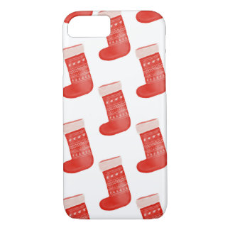 Red Christmas Socks Cute Pattern Holiday iPhone 8/7 Case