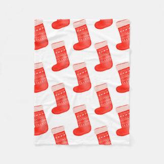 Red Christmas Socks Cute Winter Pattern Holiday Fleece Blanket