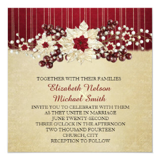 Red Christmas Star Damask Gold Wedding Invitation