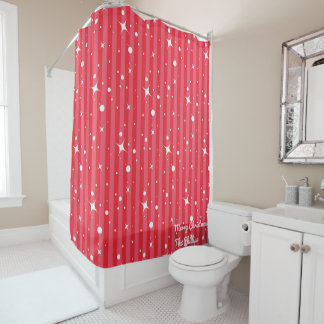 Red Christmas Starry Night Personalize Shower Curtain