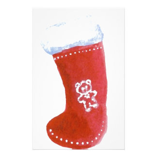 Red Christmas Stocking Holiday Fun Designs Custom Stationery