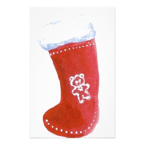 Red Christmas Stocking Holiday Fun Designs Custom Stationery