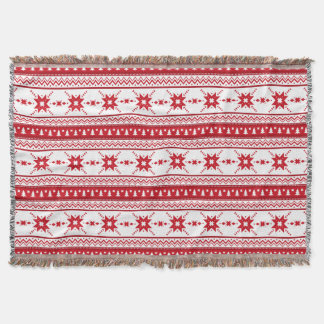 Red Christmas Sweater Inspired Pattern Throw Blanket