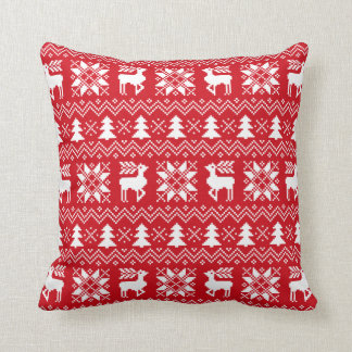Red Christmas Sweater Reindeer Poinsettias Pattern Cushion