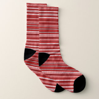 Red Christmas Sweater Stripes Socks 1