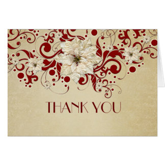 Red Christmas Swirls Gold Thank you Greeting Card